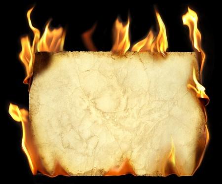 Burning old paper. photo