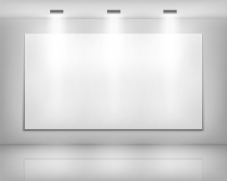art gallery interior: White frame in art gallery