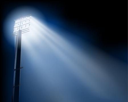 floodlight: Stadium spotlights. Vector illustration. Illustration