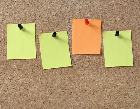 Note papers on cork board. photo