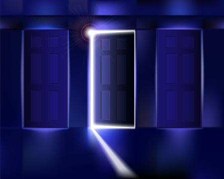 bright future: Corridor with open door. Vector illustration.