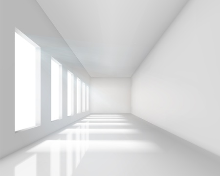exhibition: Empty white interior. Vector illustration.
