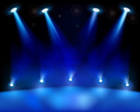 fari da palco: Fase luci. Illustrazione vettoriale. Vettoriali