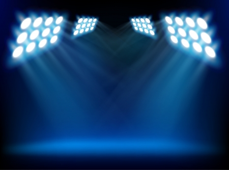 empty stage: Stage lights. Vector illustration.