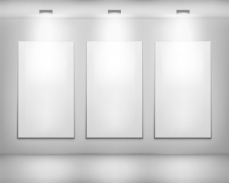 a white background: White frames in art gallery  Illustration