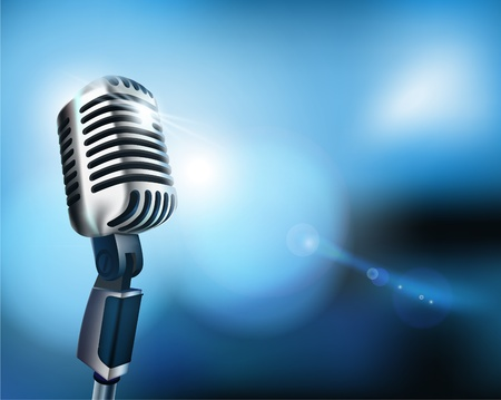 vocals: Microphone. Vector illustration. Illustration