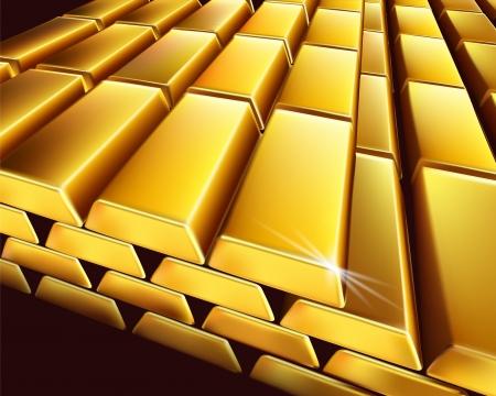Pila di lingotti d'oro. Illustrazione vettoriale.