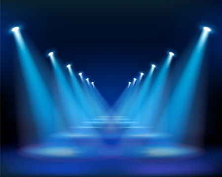 empty stage: Blue way. Vector Illustration. Illustration