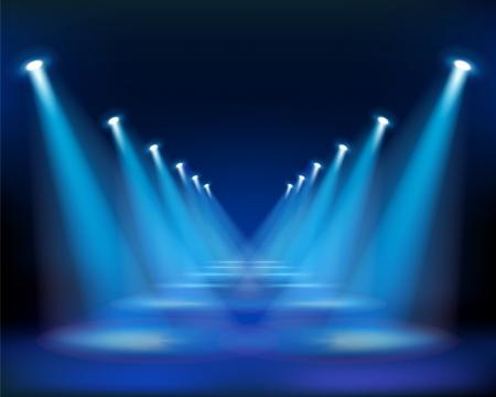 spotlights: Manera Azul. Ilustraciones Vectoriales.