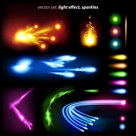vector set: effet de lumière, paillettes - beaucoup d'éléments graphiques pour embellir votre mise en page