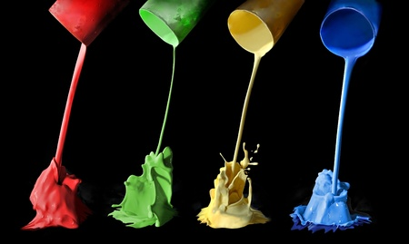 primary colors: Pouring paints of colors from its buckets. Paint splash. Stock Photo