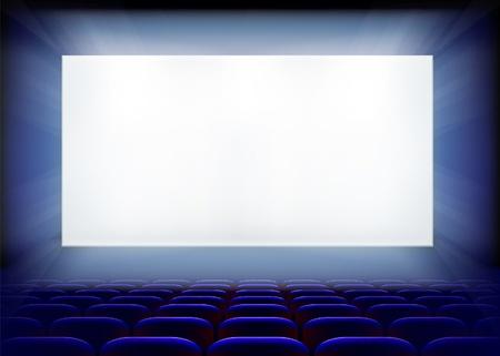Écran de projection dans le cinéma. Vector illustration.