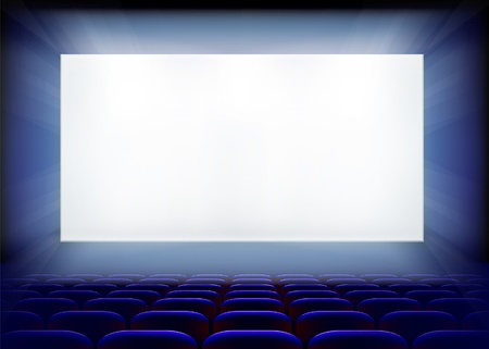 cinema screen: Projection screen in cinema. Vector illustration.