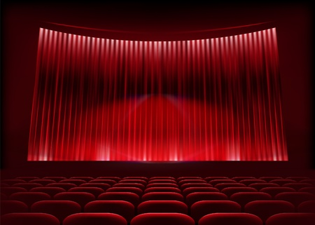 Cinema auditorium with stage curtain. Vector illustration.