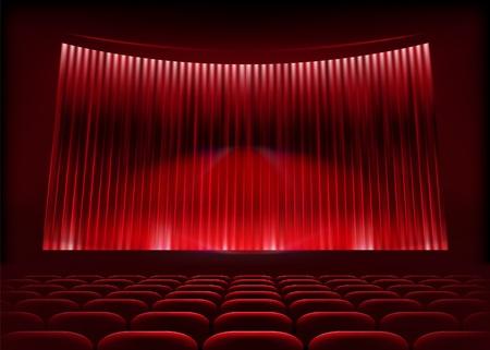 rideau sc�ne: Salles de cin�ma avec rideau de sc�ne. Vector illustration.