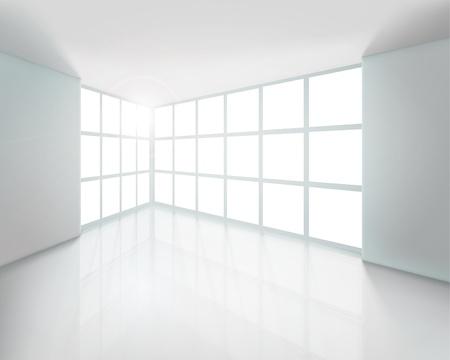 big windows: Пустой белый интерьер. Векторные иллюстрации.