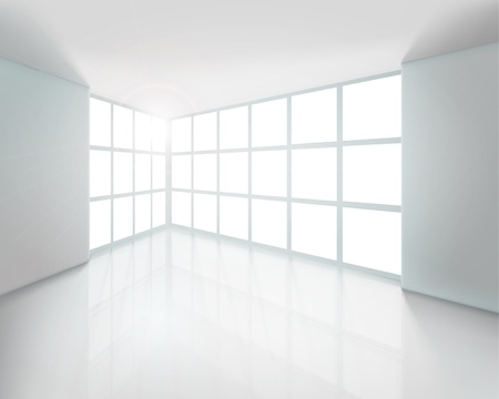 interior window: Empty white interior. Vector illustration.