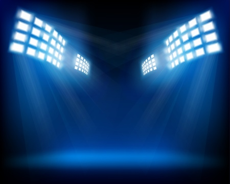 empty stage: Row of floodlights. Vector illustration.