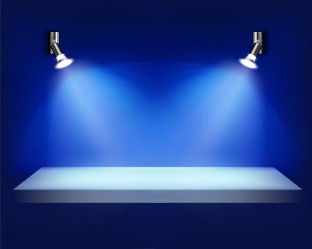 spotlight lamp: Scaffale vuoto per la mostra. illustrazione.