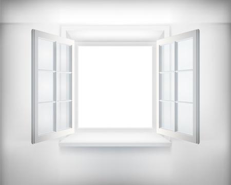 Opened window. illustration.