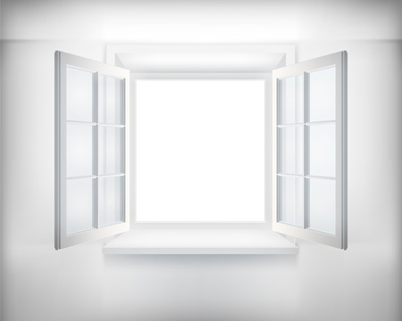 Opened window. illustration. Vector