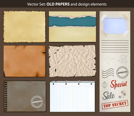 torn paper: Old papers.  set of ripped old paper and design elements. Illustration