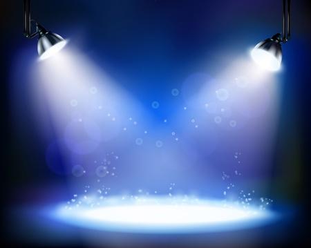 blue spotlight: Stage spotlights.  illustration.
