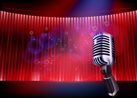 microphone retro: Stage. illustration. Illustration