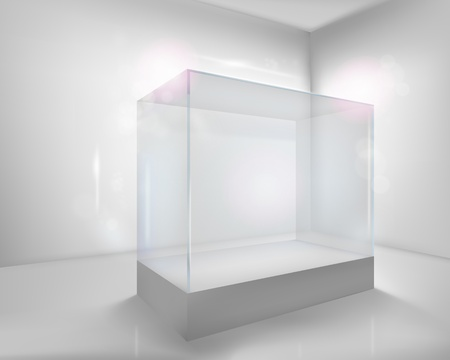 exhibition: Display case.  illustration.