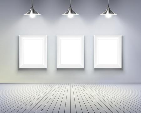 exposition art: Chambre avec photos. illustration.