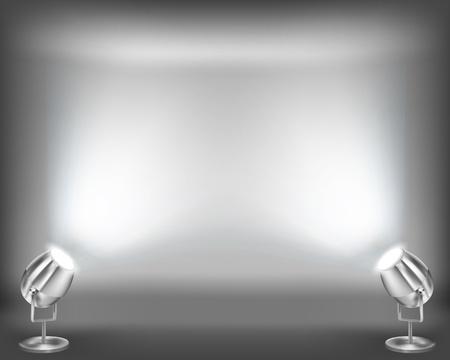 spotlights: Interior con pared vac�a. ilustraci�n. Vectores