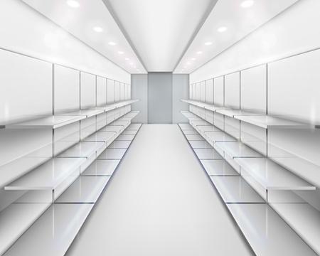 supermarket shelf: Shelves. illustration.
