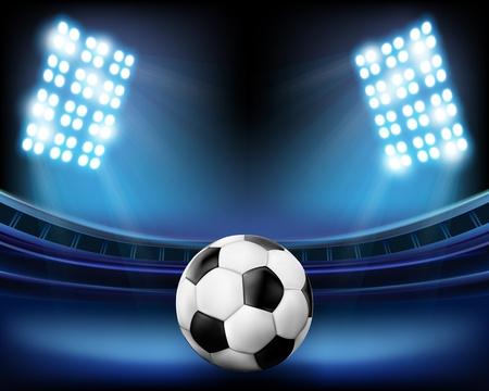 Football on the stadium. Vector illustration.