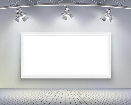 spotlights: Pared con ilustraci�n vectorial