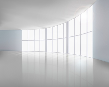 hall: Empty white interior  Vector illustration