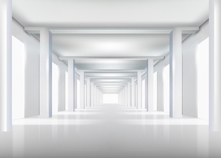 corridors: White interior illustration