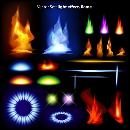 ensemble de vecteurs: effet de la lumière, la flamme - il ya beaucoup d'éléments graphiques pour embellir votre mise en page