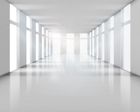 사무실 건물: 빈 흰색 인테리어 벡터 일러스트 레이 션