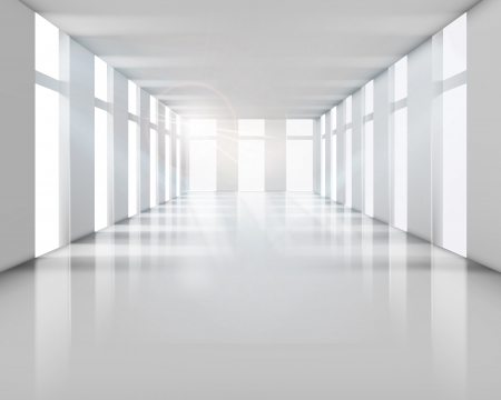 office space: Empty white interior  Vector illustration