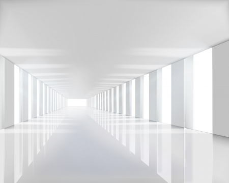 Empty white hall  Vector