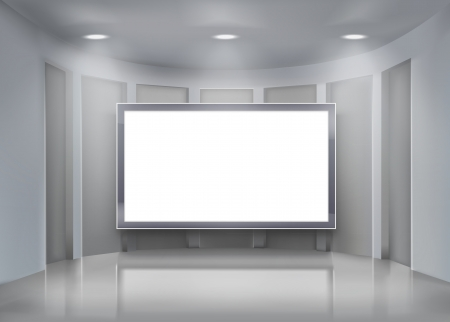 art gallery interior: Projection screen.