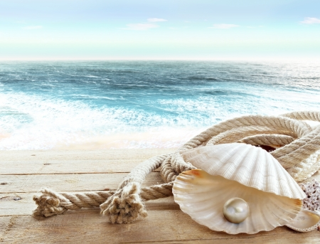 scallop shell: Pearl on board a ship