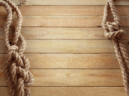 wooden deck: Ship ropes