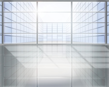 glass window: Business center. illustration.