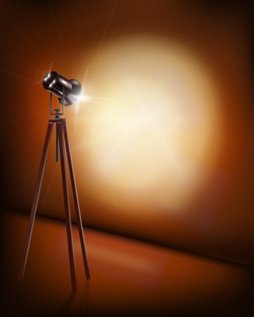 art gallery interior: Lamp on tripod.  illustration. Illustration