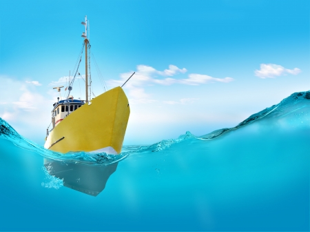 yellow boats: Ship in the sea