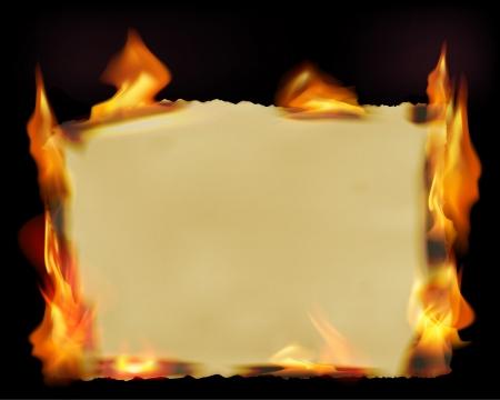 antikes papier: Papier mit dem Feuer Flammen. Vektor-Illustration. Illustration