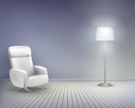 Habitación con silla. Vector ilustración.