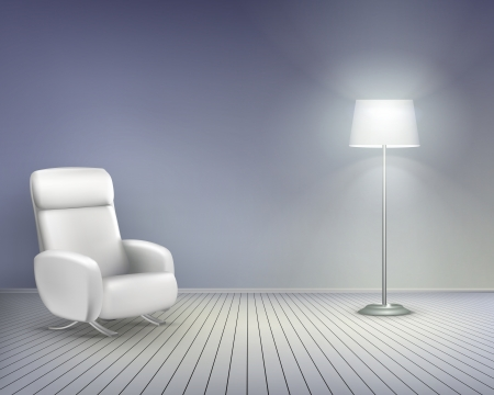 living room wall: Room with chair.  Vector illustration.