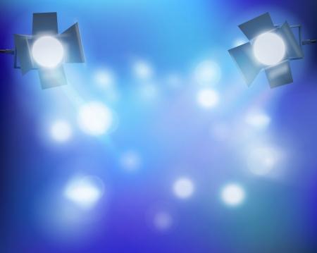 stage set: Spotlights in a smoke. Vector illustration.